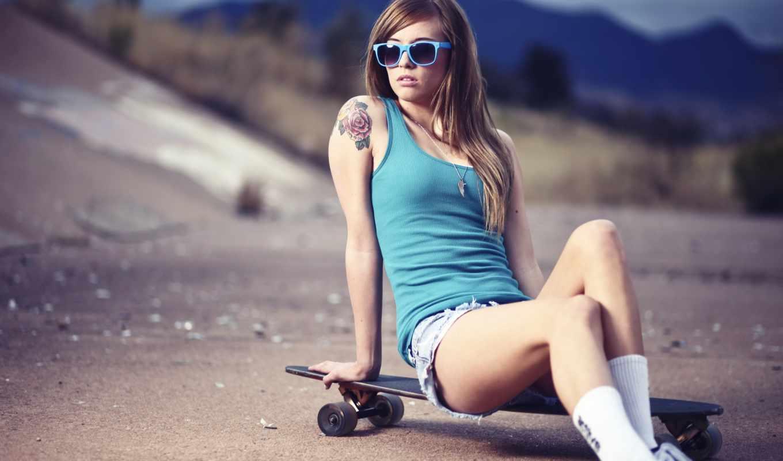 девушка, скейт, teravena, sugimoto, очки, скейтборд, тату, дорога, девушки, картинка, ipad, доска,