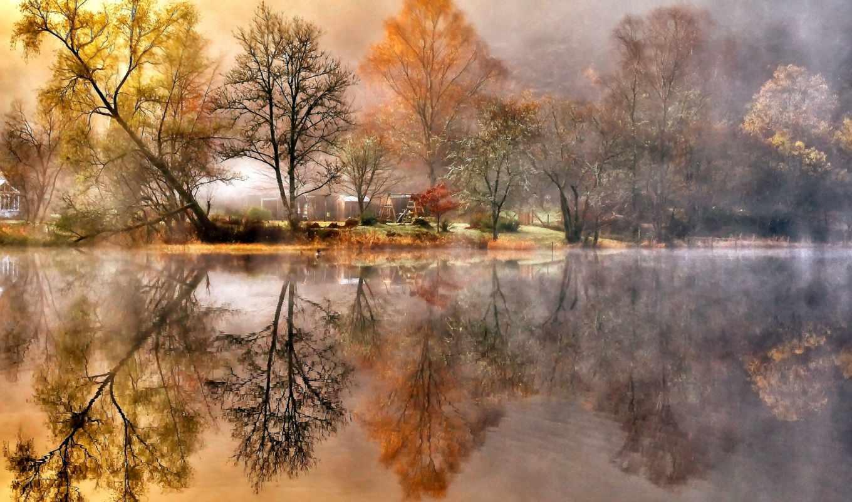 река, деревья, листва, берег, осень, картинка, картинку,