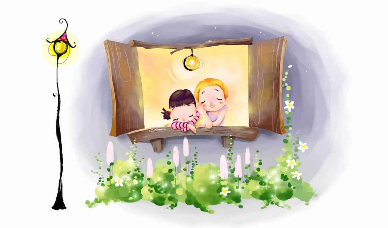 дети, девочка, мальчик, сон, цветы, фонарь, ночь, окно, лампа