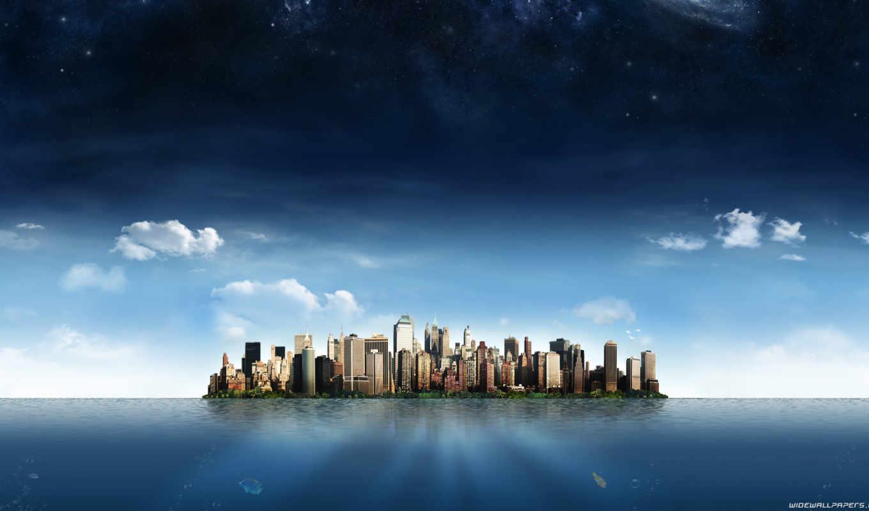 город, сова, vanilla, сумерки, небоскребы, windows, небо, тема, облака,