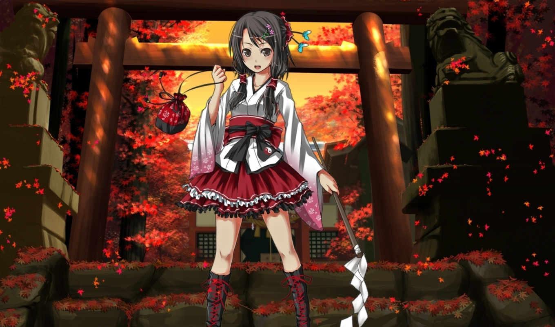 anime, девушка, храм, листья, осень,