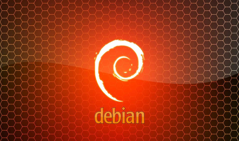 debian, лого, шестиугольники, оранжевый