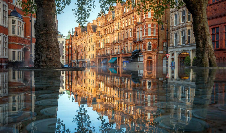 london, отражение, water, print, город, англия, день, build, house, фото, piece