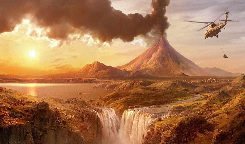 вулкан, вертолёт, вертолет, водопад, все, вулканобоев, wallpapers, вертолетобоев, водопадобоев,