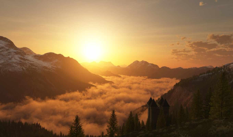 облака, деревья, закат, арт, природа, похожие, небо, рендеринг,