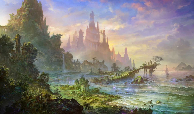 горы, замок, море, корабли, картинку, картинка, world, fantastic, кнопкой, мыши,