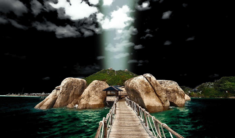 ,море, остров, скалы, мост,