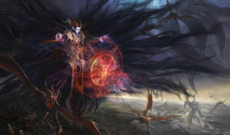 демон, взгляд, diablo, art, demons, angels, angel, девушка,