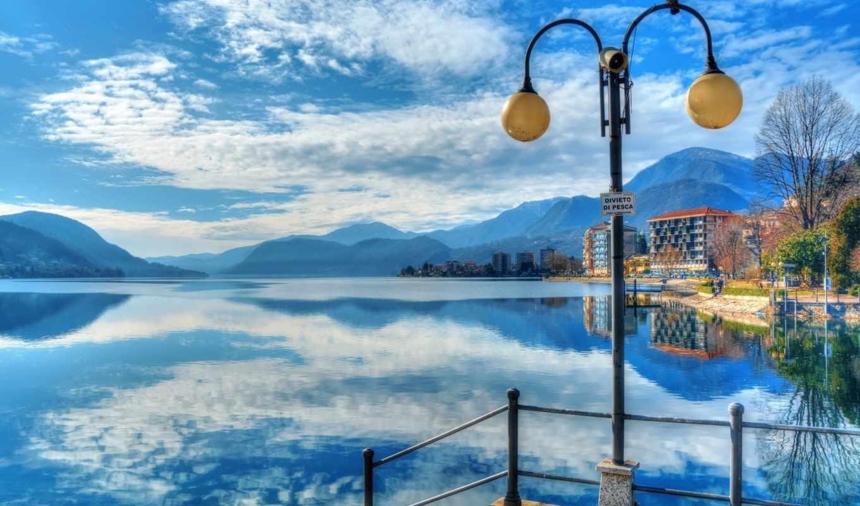 italian, озеро, орта, горы, lantern, omegna, оменья, отражение, landscape,
