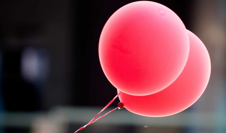 воздушные, шарики, макро, розовый, ветер