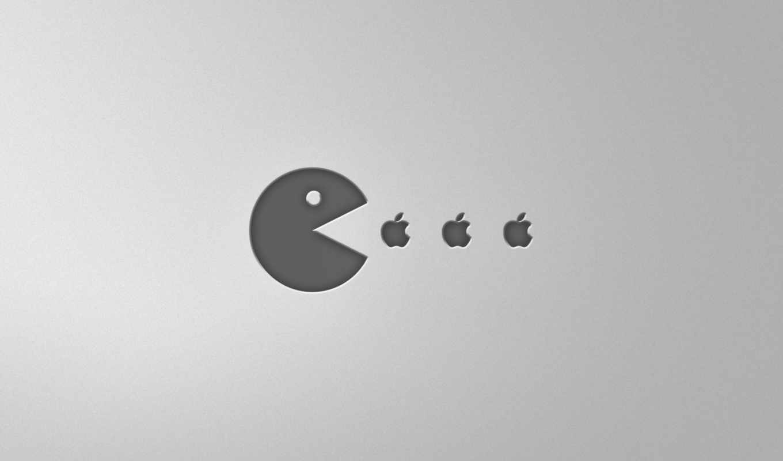 apple, pacman, минимализм, кушает, pac, mac, man,