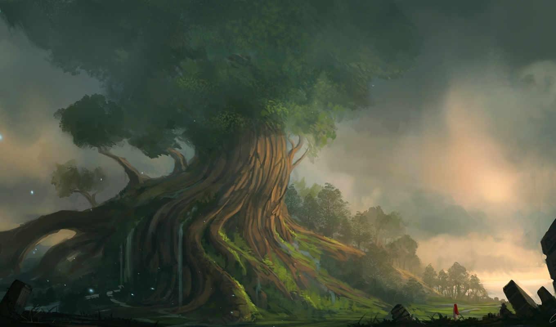 landscape, art, blinck, гигантское, дерево, девушка,