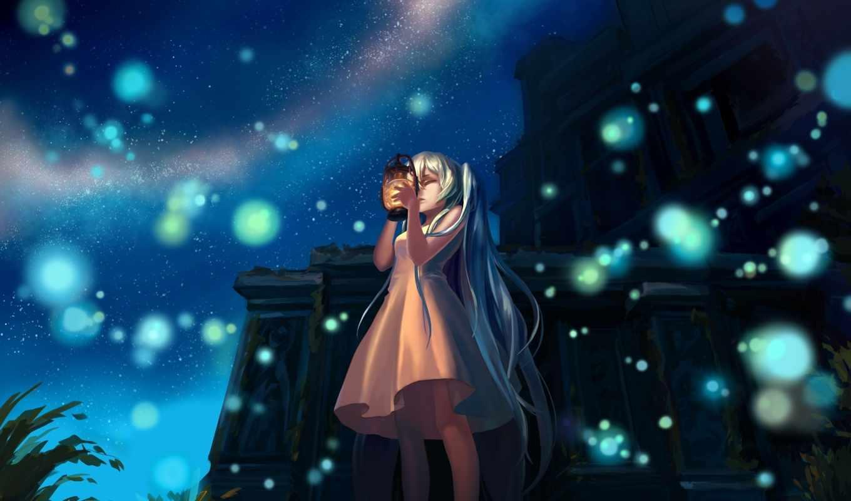 art, miku, hatsune, вокалоид, anime, vocaloid, ночь, девушка,