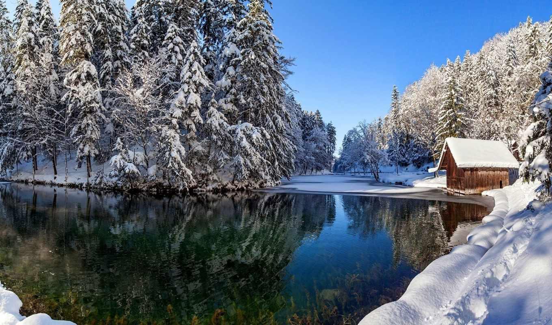 река, winter, лес, lodge, природа, снег, красиво,