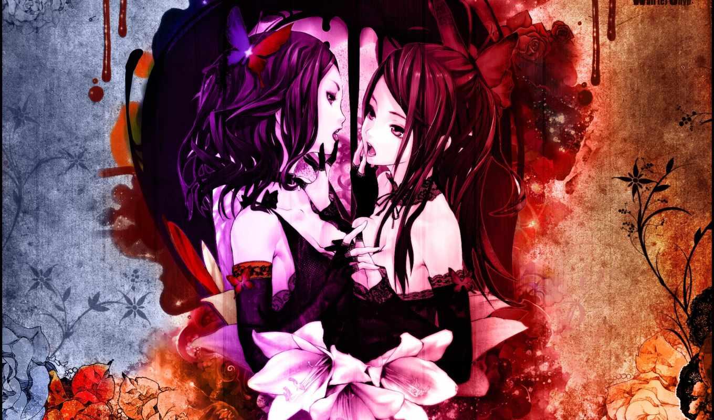 волосы, anime, красные, дневнике, девушка, категории, свет, бабочки, кровь, прoкoммeнтировa,