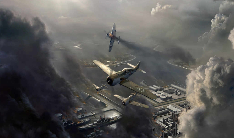игры, авиация, онлайн, авиаудар, focke, смърт, wulf, небо, война, самолёт, облака, attack,
