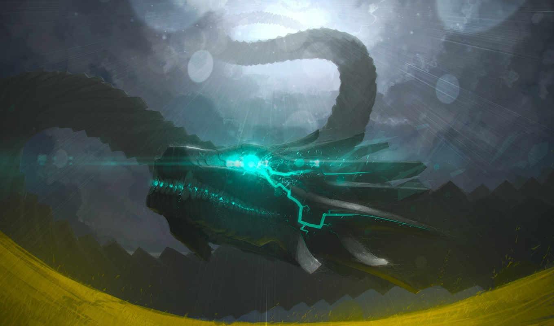облака, свет, дракон, энергия, блики,