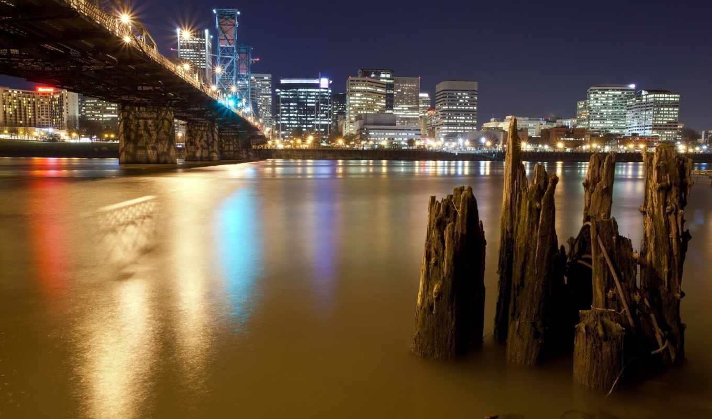 город, мост, ночь, река,