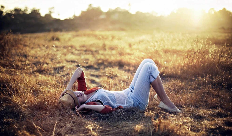 поле, девушка, свет, закат, девушки, трава,