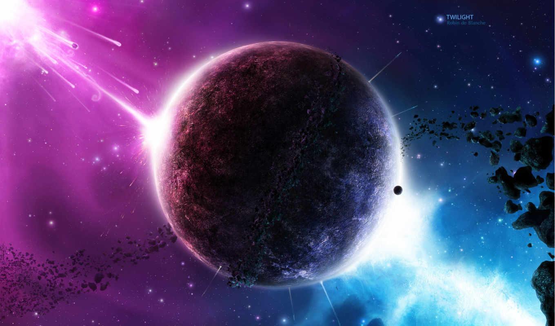 space, планета, метеориты, звезды, сверкание, twilight, art,