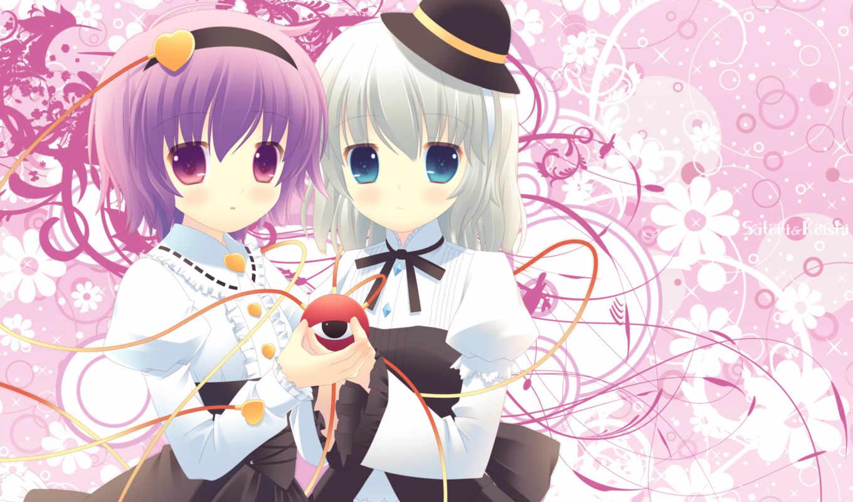 komeiji, hair, eyes, touhou, satori, kurasawa, kyoushou, koishi, girls, hat, anime,