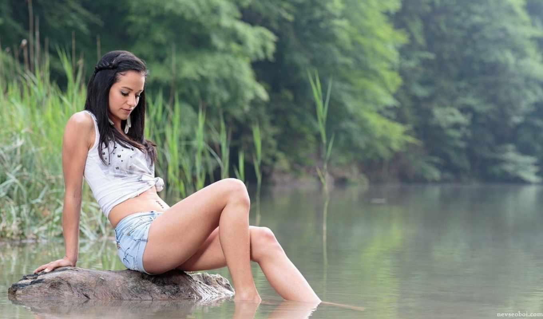 девушка, река, брюнетка, трусы, water,
