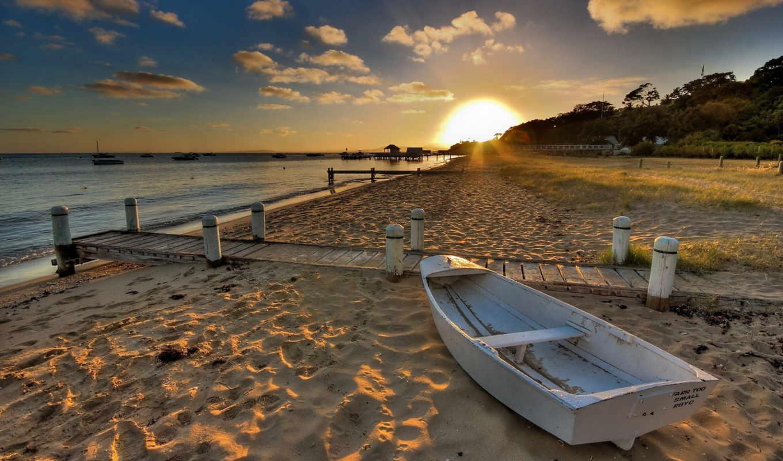 лодка, песок, море, закат, деревянная, берег, пляже,