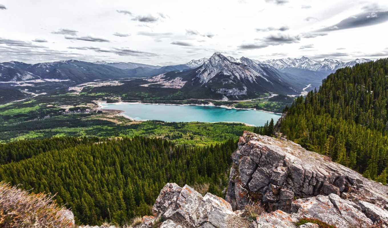 озеро, канада, шлагбаум, альберта, лес, mountains, гора,