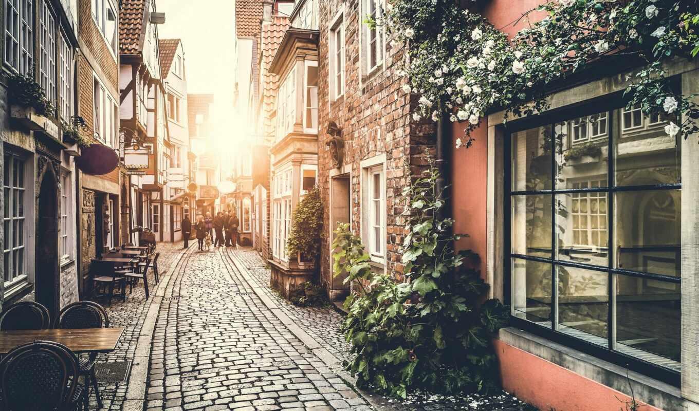 улочка, francii, фреска, french, улица, старый, город, уютный, париж