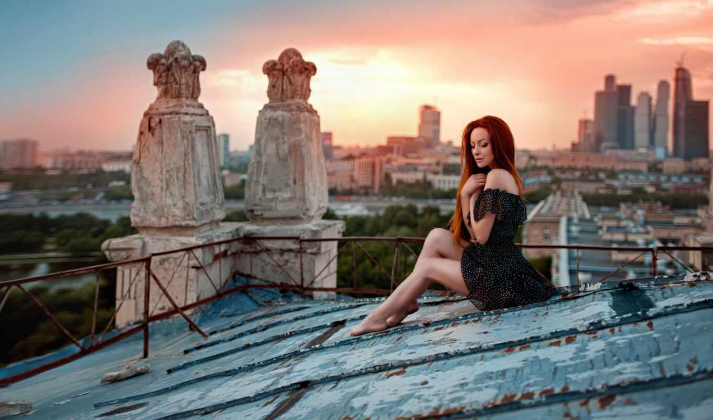 крыша, закат, chernyad, джордж, город, девушка, irina, building