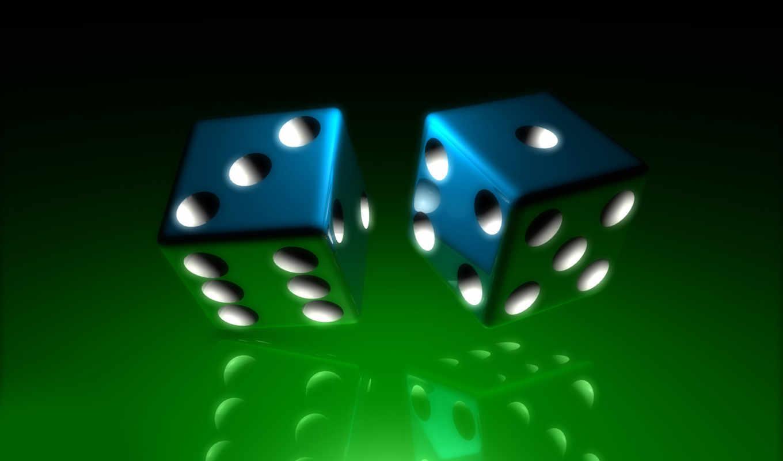 blue, фона, dice, трехмерной, графикой,