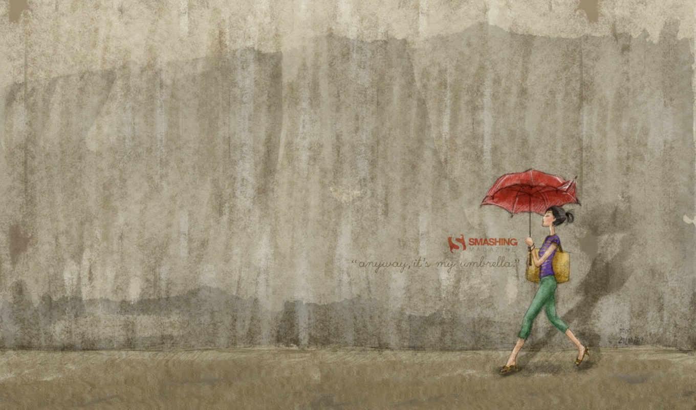 девушка, стена, обоя, зонт,
