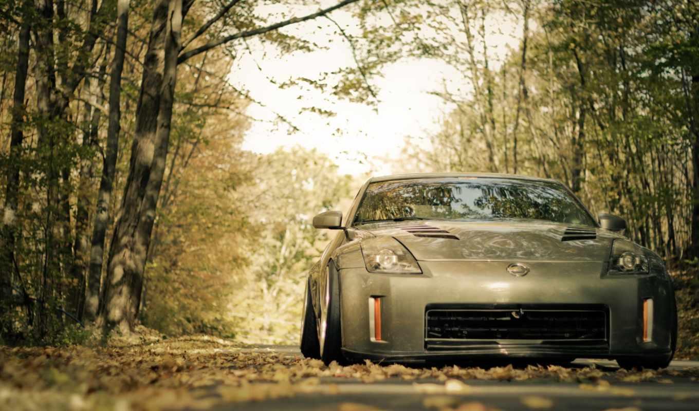 дорога, осень, nissan, машины, листва,