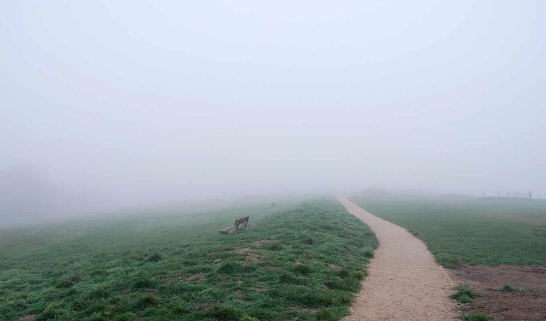 туман, дорога, поле, природа, категории, фоны, скамейка, лошадь,