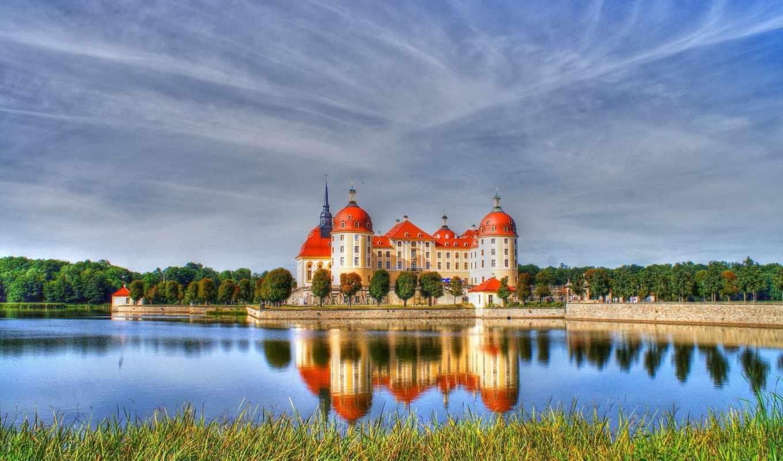 отражение, moritzburg, canvas, плакат, небо, трава, castle, стиль, fonwall