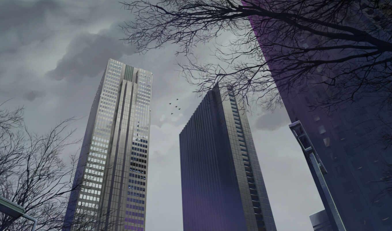 макото, обои, синкай, пасмурно, город, категория,