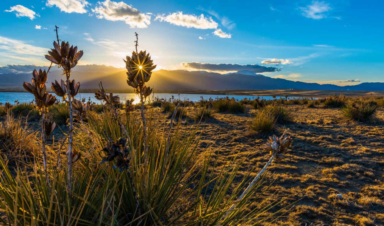 природа, озеро, трава, солнце, облака, пейзажи, уголками, природы, прекрасными, изображение, sunbeam,