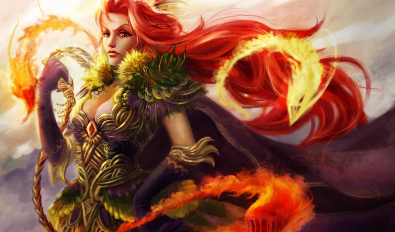 кнут, огонь, магия, существа, монстры, рыжая, девушка, картинку,