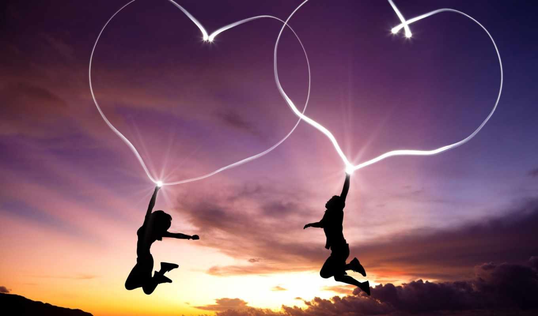сердце, прыжок, закат, он и она, фотожаба, полёт, облака