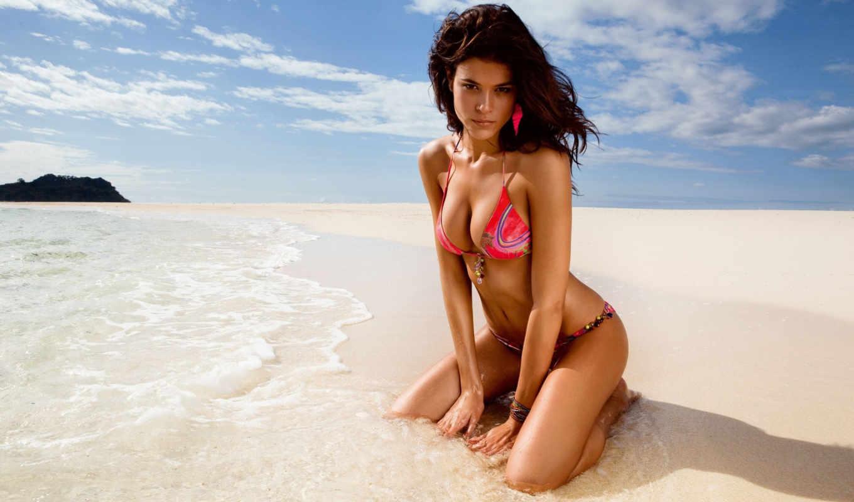 девушка, купальнике, пляже, девушки, сидит,