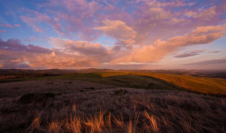 небо, со, закат, oblaka, природа, hills, flowers, desktop, xinature,