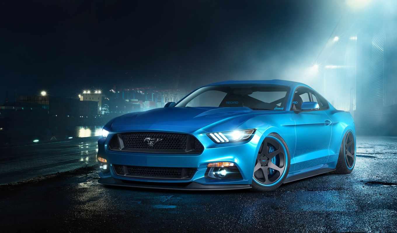 mustang, ford, скорость, blue, суперкар,