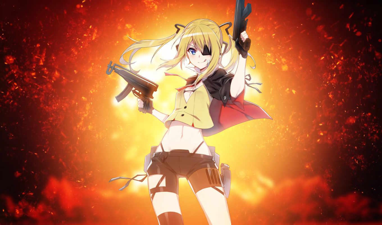 anime, девушка, desktop, guns, girls, resolutions,