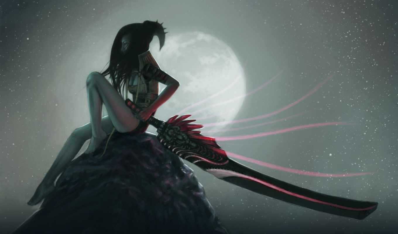 девушка, anime, воин, меч, оружие, art, fantasy, epic,