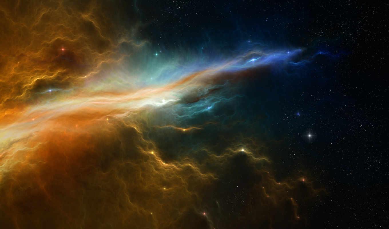 обои, космос, звезды, туманность, планета, следы,
