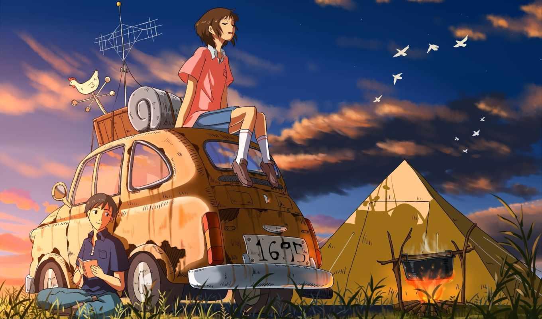 небо, девушка, картинку, картинка, save, аниме, парень, птицы, машина, выберите, кнопкой, правой, мыши, minus, picsfab, фабрика, скачивания, original, костер, палатка,