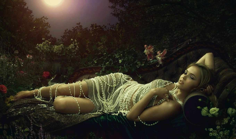 цветы, ночь, луна, девушка, картинке, girls, красотка, софе, саду, прекрасных,