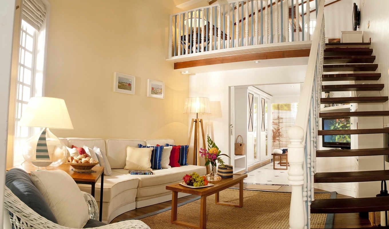 ,гостиная, лестница, столик,диван,