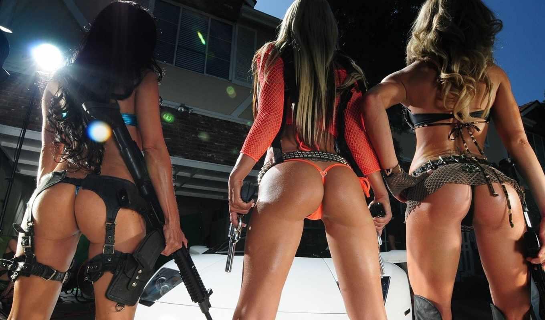 девушки, оружием, подборка, девушек, фотографий,