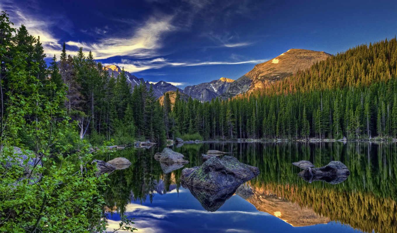 priroda, ozero, oblaka, voda,